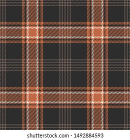 Check plaid pattern seamless vector background. Dark multicolored tartan plaid in brown, orange, and off white for flannel shirt, blanket, or other modern autumn fashion or home textile print.