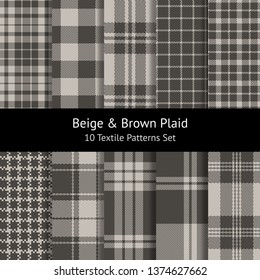Check plaid patterns set in beige and brown for textile print. Herringbone, pixel, hollow squares, weave, stripes texture. Seamless tartan & gingham / vichy / buffalo check styles. Swatches included.