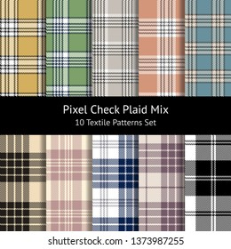 Check plaid patterns vector set. Seamless tartan pixel plaid for textile print in yellow, green, beige, grey, blue, coral, pink, black, and white.