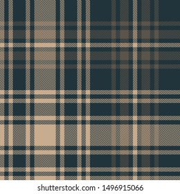 Check plaid seamless pattern in dark blue and brown. Tartan plaid for flannel shirt, blanket, or other modern fabric design. Herringbone pixel woven texture.