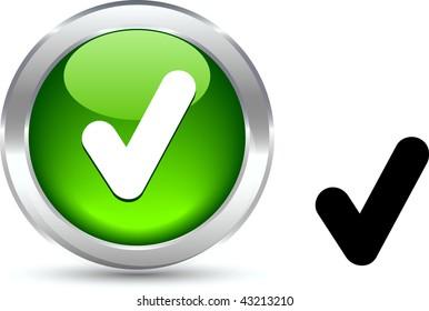 Check  realistic button. Vector illustration.