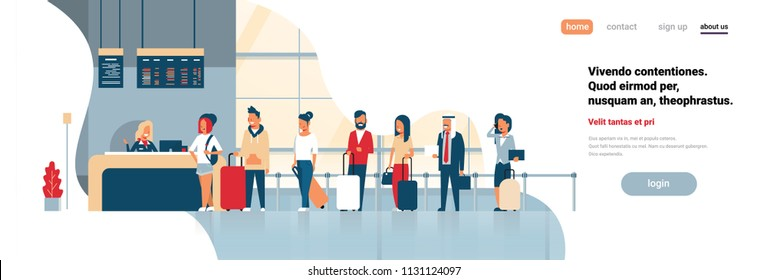 check in registration airport group mix race passengers standing in queue departures board concept flat copy space banner vector illustration