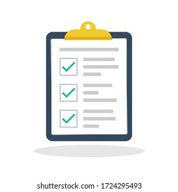 Check report icon in flat style. To do list symbol for your web site design, logo, app, UI Vector EPS 10.