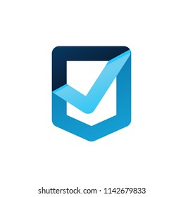 check shield secure security antivirus verified logo icon vector