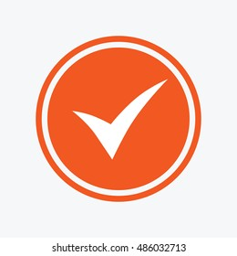 Check sign icon. Yes symbol. Confirm. Graphic design element. Flat tick symbol on the round button. Vector