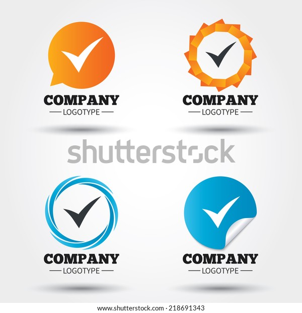 Check sign icon. Yes symbol. Confirm. Business abstract circle logos. Icon in speech bubble, wreath. Vector