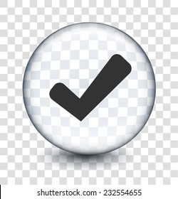 Check Sign on Transparent Round Button