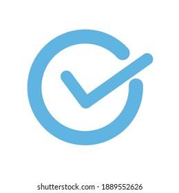 check symbol in blue color, check sign icon. Vector illustration