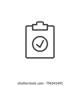 Check test line icon, outline vector sign, linear style pictogram isolated on white. Clipboard with tick symbol, logo illustration. Editable stroke
