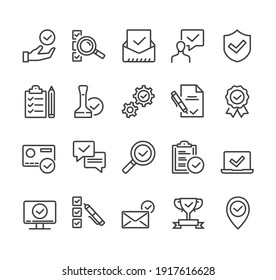 Check testing examination tick approve checkmark. Flat lined thin isolated icon set