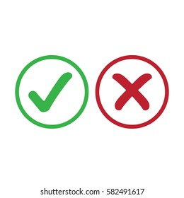 Check tick mark and cross rejected sign, vector
