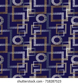 Check tiled geometric modern seamless pattern. Dark blue vector geometry abstract background wallpaper with gold silver geometrical shapes, figures. squares, circles and greek key meander ornaments.