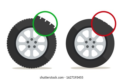 Check tire tread depth, banner, poster. Auto tire change service. Good and worn tyre. Control car wheel condition. Vector illustration, flat design element. Isolated on white background.