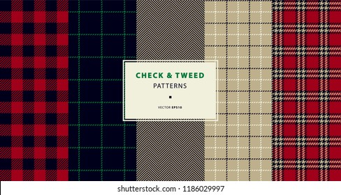 Check and tweed seamless patterns set in red, black, beige. High quality precise seamless patterns