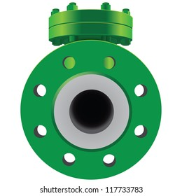 Check Valve pipe water metal steel piston industrial plumb refinery liquid gas oil wheel pipeline. Vector illustration