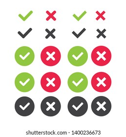 Check and wrong icons set of check marks. Green tick, red cross, black tick and cross. Yes or no - Vector