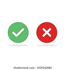 Check and wrong marks, Tick and cross marks, Accepted,Rejected, Approved,Disapproved, Right,Wrong, Correct,False - vector mark symbols in green and red. Isolated icon.