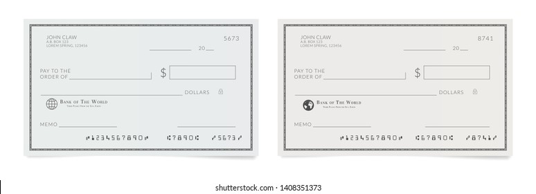Checkbook page. Bank check template. Blank Cheque