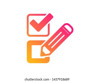 Checkbox icon. Survey choice sign. Business review symbol. Classic flat style. Gradient checkbox icon. Vector