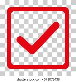 Checkbox icon. Vector illustration style is flat iconic symbol, red color, transparent background. Designed for web and software interfaces.
