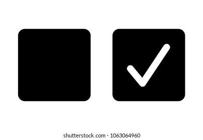 Checkbox set with blank and checked checkbox flat vector icon for apps and websites