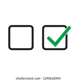 Checkbox set with blank and checked checkbox vector icon.