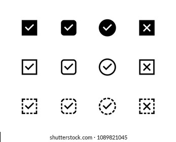 Checkbox, Tick Check Mark vector icons on white