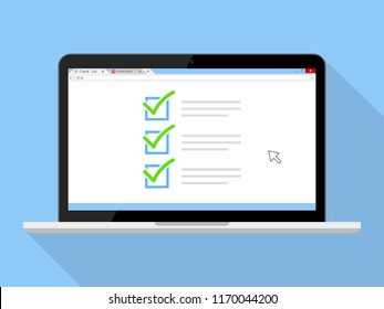 Checkboxes on laptop screen. Checkboxes and green checkmarks. Modern concept for web banners, web sites, infographics. Creative flat design vector illustration isolated on blue background
