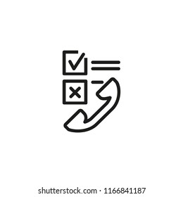 Checkboxes and telephone receiver line icon. Online shopping, online service, customer service. Survey concept. Vector illustration can be used for topics like service, internet, communication