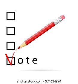Checkboxes for voting with a red pencil, vote concept, 3d vector image, eps 10