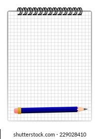 Checked blank spiral note paper with blue wooden pencil. school concept - math sheet. vector art image illustration, isolated on white background