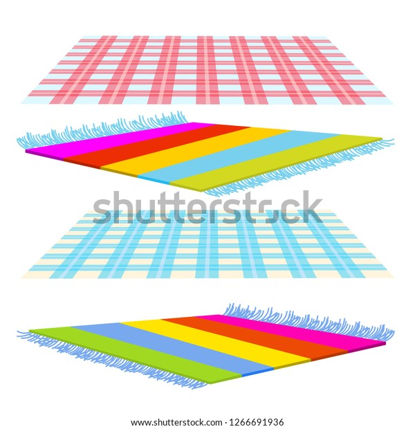 Checked Cover Carpet Tapis Vector Isolated Stock Vector Royalty