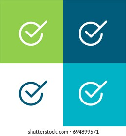 Checked green and blue material color minimal icon or logo design