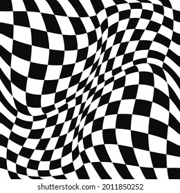 Checker curl vector flag. Seamless convex or concave wavy race flag. Vector.