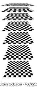 Checkerboards, chessboards, checkered planes in different perspective. Tilted, vanishing empty marble, pepita floors