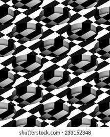 Checkered 3D Cylindrical Holes Vector Seamless Pattern Background