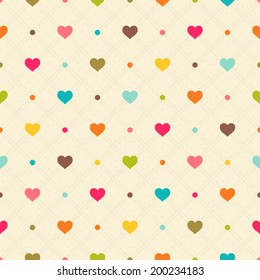 Checkered color seamless textured polka dots pattern with hearts