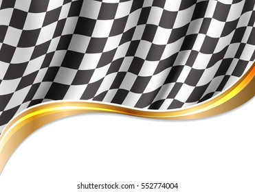 Checkered flag flying and gold ribbon curve on white background design for sport racing vector illustration.