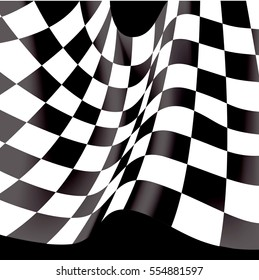 Checkered flag flying on black background vector illustration.