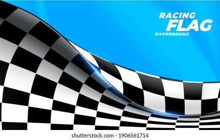 Checkered flag flying on blue background. Car race or motorsport rally flag. 3D wavy pattern background of racing sport, bike or motocross competition, championship design. Vector illustration EPS 10