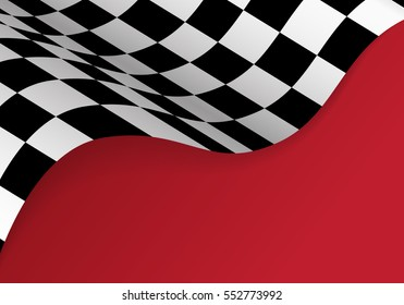Checkered flag flying on red background design for sport racing vector illustration.