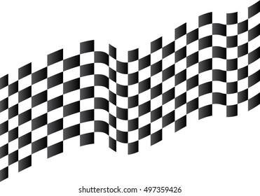 Checkered flag flying on white background design for sport race vector illustration.