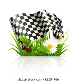 Checkered flag in grass, 10eps