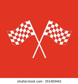 The checkered flag icon. Finish symbol. Flat Vector illustration