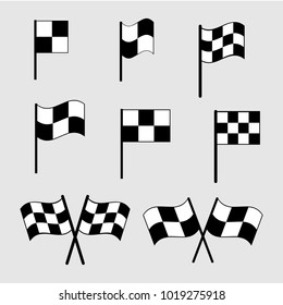 Checkered flag icons. Finish signs set illustration