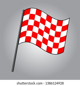 checkered flag, red and white colors