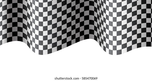 Checkered Flag Wave On White Design For Race Background Vector Illustration