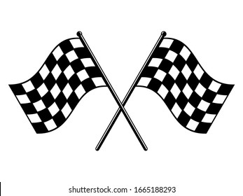 Checkered flags. Black and white race flag. Finish or start rippled crossed flag icon. Motorsport or auto racing symbol on white background. Final lap race. Vector illustration, flat style, clip art.