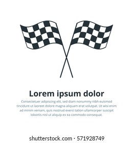 Checkered flags icon. Crossed black and white checkered flags Championship vector illustration.