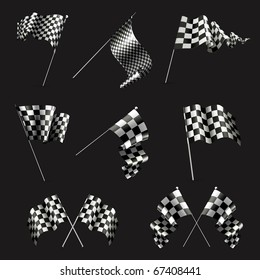 Checkered Flags set on black, 10eps